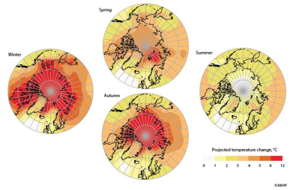 Mapa de projeção do aquecimento no ártico